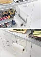 If you don't want to drill a kitchen towel holder into the wall, and don't want a bulky holder on the worktop, how about an overdoor one instead. Can be fitted to either the inside or outside of doors to take advantage of the 'dead' space. Coated to protect against rust and supplied with cushions to protect against damage to door surface.