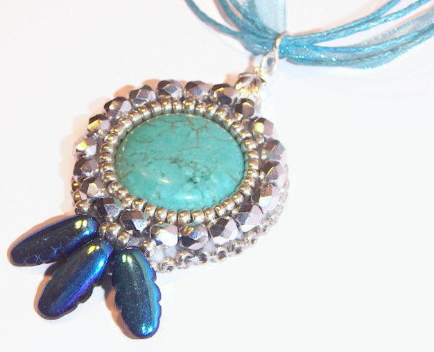 Bead Embroidered Pendant , Blue Necklace, Turquoise Pendant, Beaded Pendant, Beaded Necklace, Elegant Necklace - pinned by pin4etsy.com