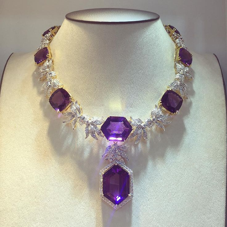 "The Rich Gems (@therichgems) on Instagram: ""This masterpiece is for Amethyst lover!  Amethyst necklace - hand made jewelry."