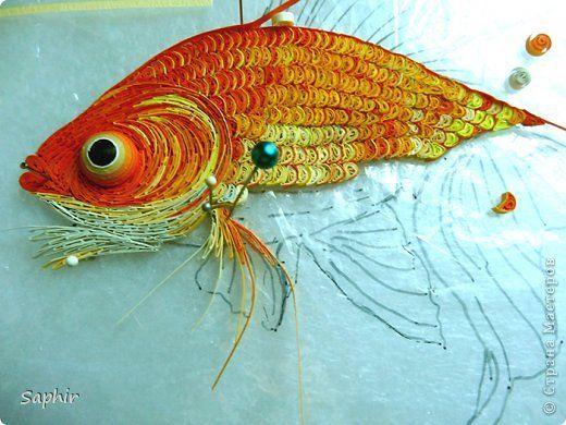 Картина, панно, рисунок, Мастер-класс Квиллинг: Золотая рыбка.  Бумага, Бумажные полосы. Фото 4