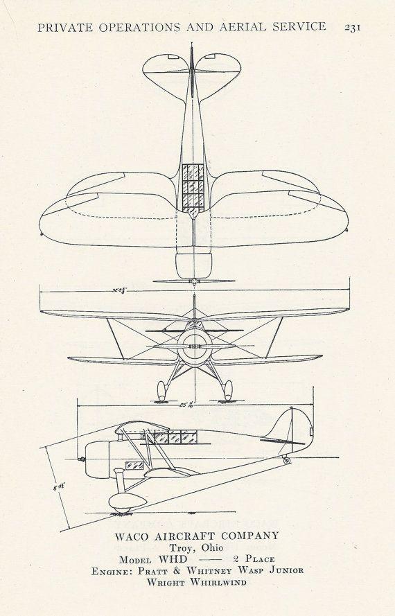 Airplane Diagram Aviation Print Vintage by VintageButtercup