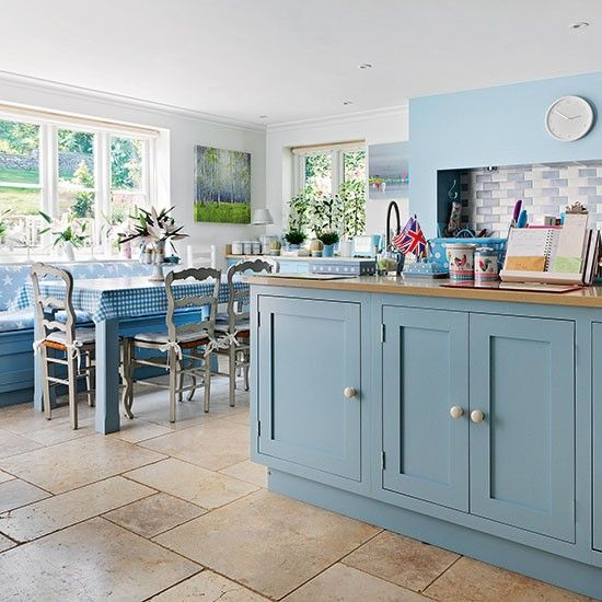 Farmhouse kitchen with blue cabinetry | Kitchen decorating | 25 Beautiful Homes | Housetohome.co.uk