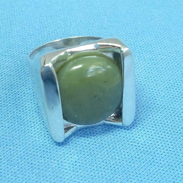Bague maya en jade et argent