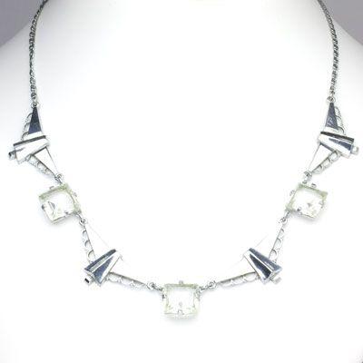 Kollmar & Jourdan Vintage Jewelry - Clear Crystal & Chrome Chicklet-style German Art Deco Necklace