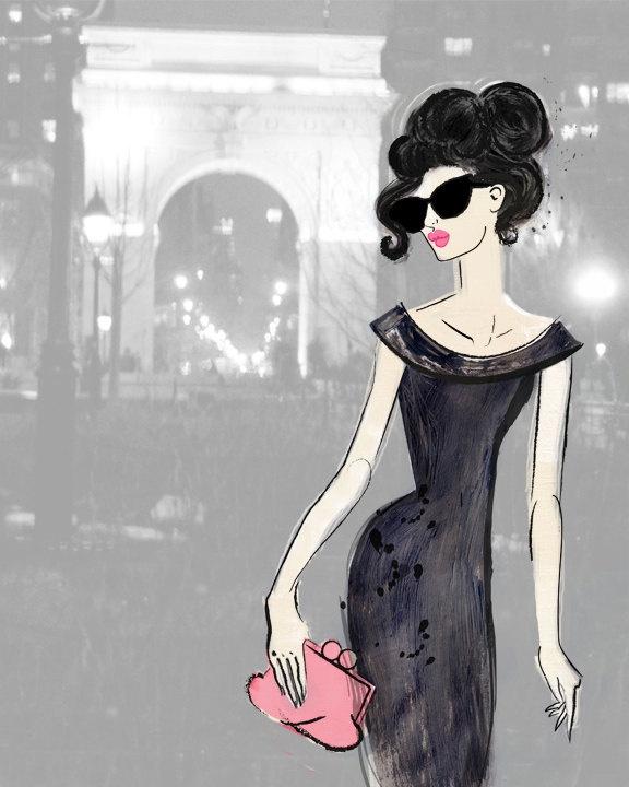 fashion illustration, fashion art, girl art, elegant woman, art print, washington square park, new york city, nyc. $20.00, via Etsy.