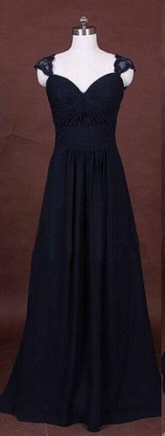 A Line Lace Bridesmaid Dress,Long Bridesmaid Gown,Navy Blue Bridesmaid Gowns,Simple Bridesmaid Dresses,Chiffon Bridesmaid Gowns,Vintage Brides Dress,Dark Navy Bridesmaid Gowns