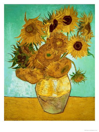 "MEMORIES-THIS WAS MY FIRST TRY TO REMAKE A ART PIECE USING ACRYLICS IN HIGH SCHOOL!!!....A PLACE IN MY HEART! <3 ""Sunflowers, c 1888"" by Vincent Van Gogh. This is one of my favorites in person. The texture and depth given to the flowers is captivating."