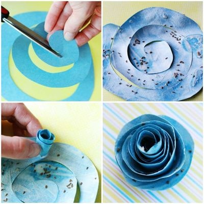 Fleur en papier      I recently came across this sweet plantable paper flower tutorial and just had to share. You simply cut a spiral out of recyclable paper, brush it thickly with a flour and water paste mixture, sprinkle on the seeds of your choice, let it dry and roll it into a little bu...