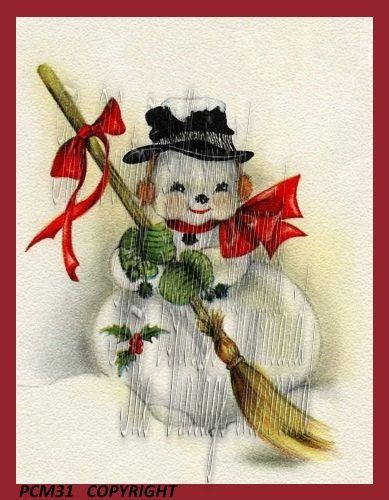 Sweetest Snowman Quilt Fabric Block Vintage by mermaidfabricshop
