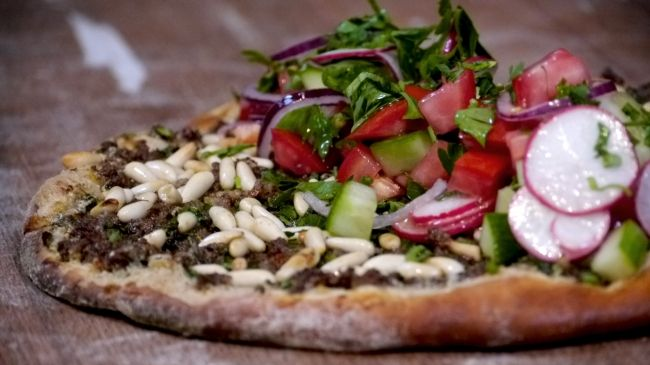 Ottolenghi - Recipes - Lahmacun – Turkish pizza with spicy minced beef and salad topping