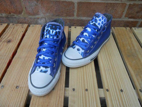 Blue Cheetah print custom made Converse by JAMCouture4u on Etsy, $85.00