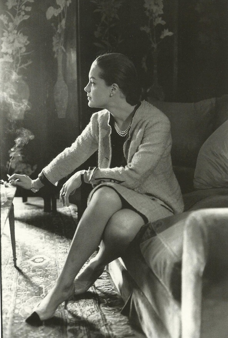 Romy Schneider wearing Chanel, in Coco Chanel's apartment, rue Cambon, Paris, 1961.