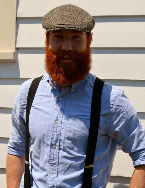 Perfect Beards. Men. RedHead.  The beard needs a trim, but the outfit looks good.