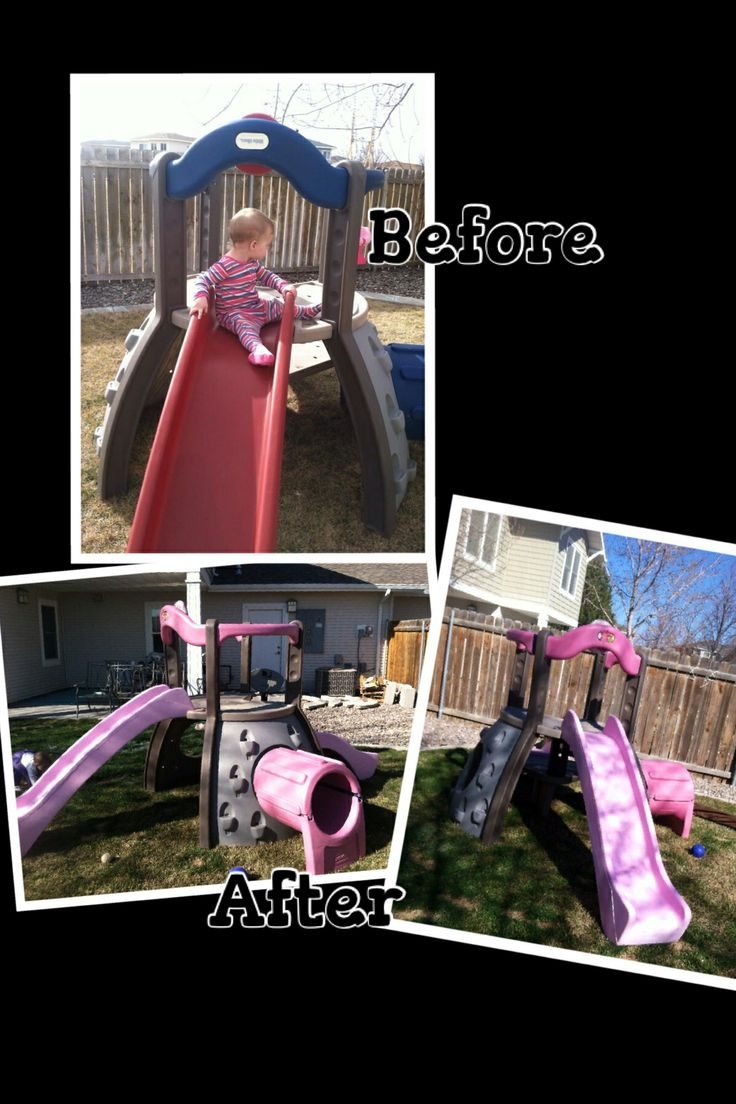 Little tikes redo.  I used rustoleum plastic primer then painted it pink with leftover paint from my daughter's room. Then finished it off with plastic uv/fade resistant clear coat. Now it's girly!