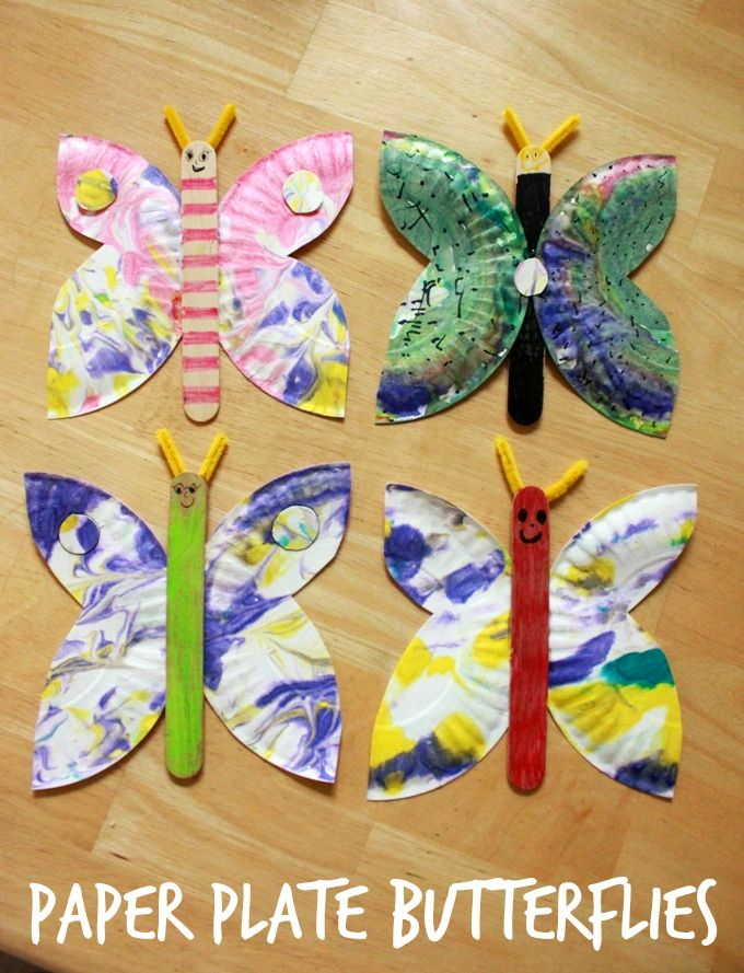 A paper plate butterfly craft for kids -- a great summer activity and especially beautiful with marbled paper plates!                                                                                                                                                                                 More