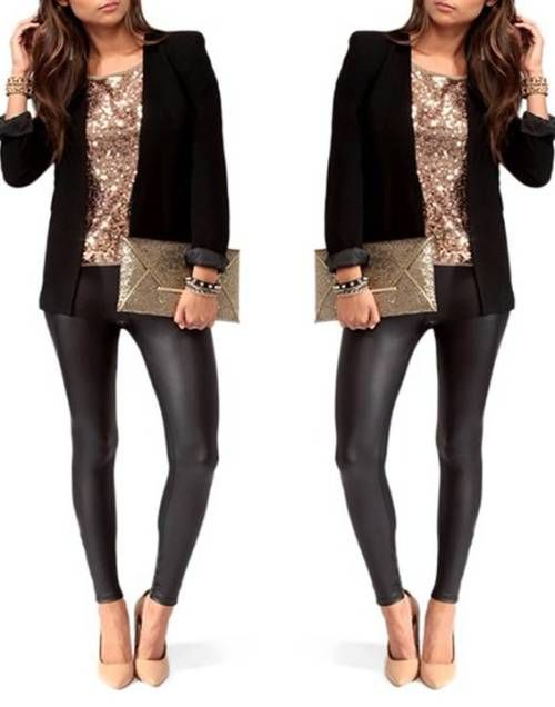 golden-sequin-to-with-black-blazer- Sequin outfit ideas for holiday http://www.justtrendygirls.com/sequin-outfit-ideas-for-holiday/
