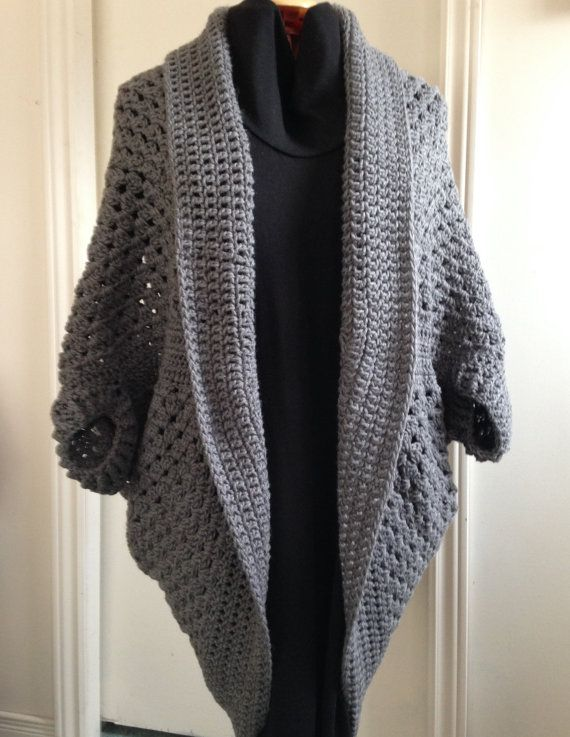Crochet Granny Square Cocoon Sweater Cardigan Shrug in True Grey, perfect for Fall or Winter, would make a lovely Gift for Her, Women, Teens