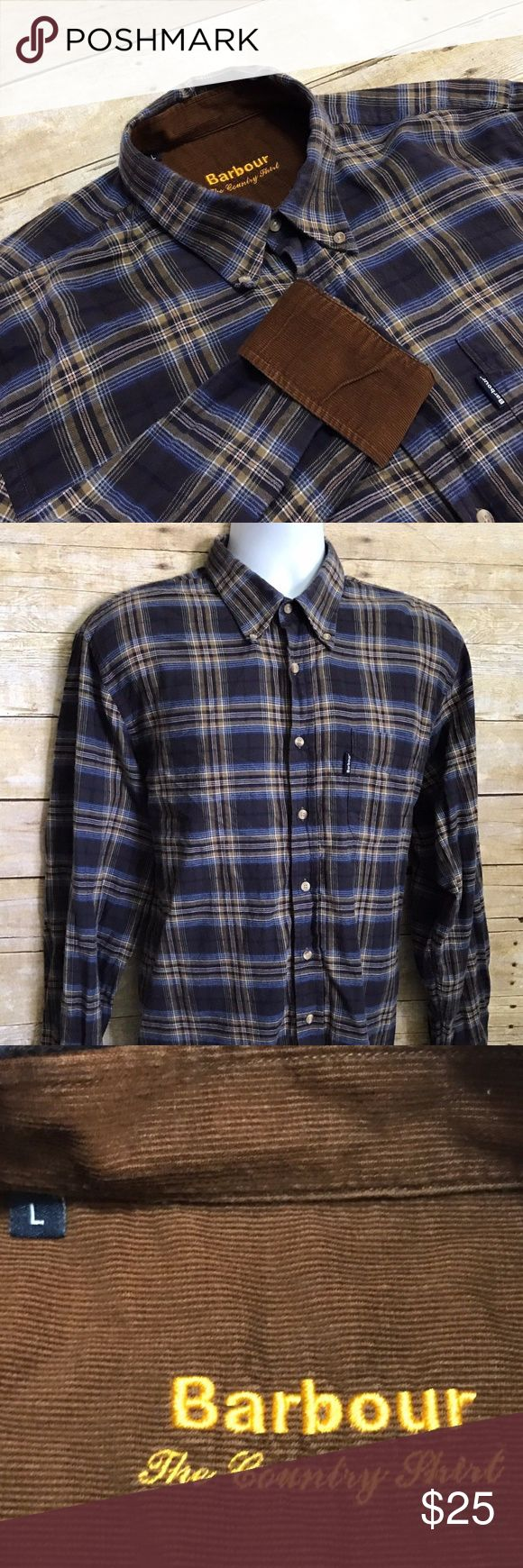 Barbour Country Shirt Blue Plaid Flannel Large Barbour Country Shirt Blue Beige Plaid Flannel Men's Large Cotton Corduroy Trim  Measurements (inches): Pit to Pit (across the chest): 24 Sleeve (center collar to cuff): 34 Length (top of collar to hem): 31.5  Condition:  This item is in good pre-owned condition! Free from rips & stains.  All items come from a smoke/ pet free environment. Barbour Shirts Casual Button Down Shirts