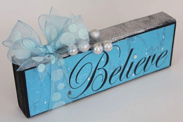 Christmas - Holiday - Believe - Wood block - decorative sign. $18.00, via Etsy.
