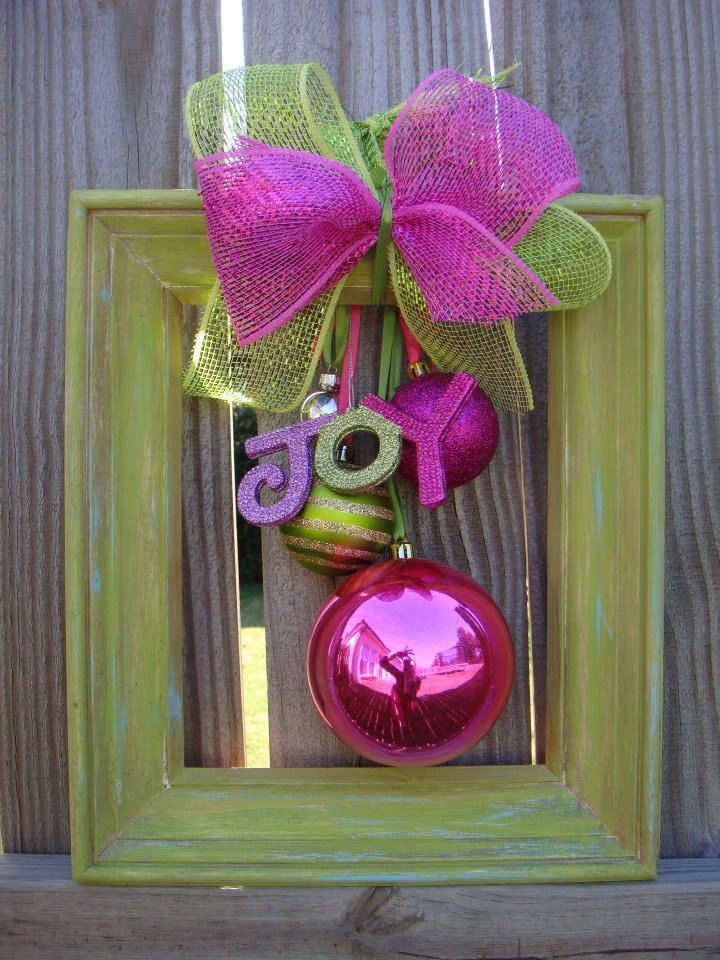 Goodwill always has a great selection of frames in all sizes and colors. Re-use a frame: paint it a Christmas color, add a bow, and hang Christmas ornaments in the center to create a colorful decoration!