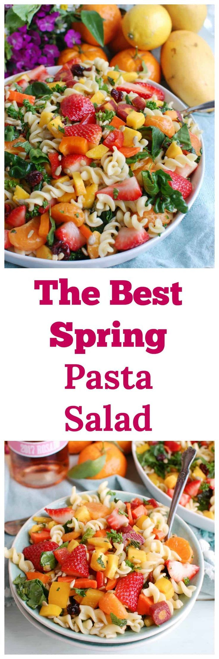 This Spring Pasta Salad is packed with healthy ingredients to create the perfect side dish for your spring brunch, Mother's Day or a summer bbq or picnic. The stars of this pasta dish are the sweet mango, mandarins and strawberries paired with the fresh vegetables and healthy lemon honey dressing. / acedarspoon.com #salad #pastasalad #fruit #mango #strawberries #healthysalad #lunch #sidedish #picnic #pasta #vegetarian #cleaneating #easyrecipe