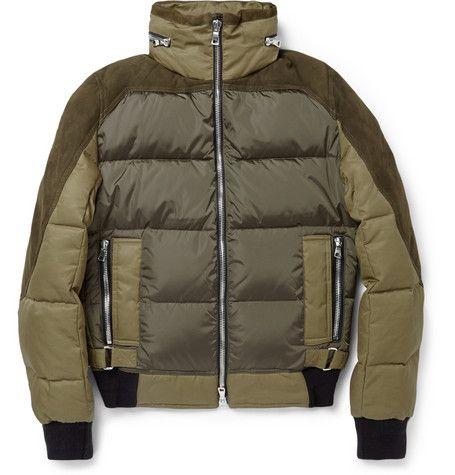 BalmainSuede-Panelled Padded Down Jacket