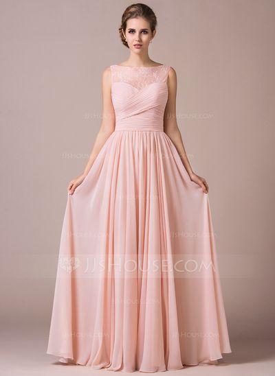 [R$ 429.84] Vestidos princesa/ Formato A Decote redondo Longos De chiffon Renda Vestido de madrinha com Pregueado (007057702)
