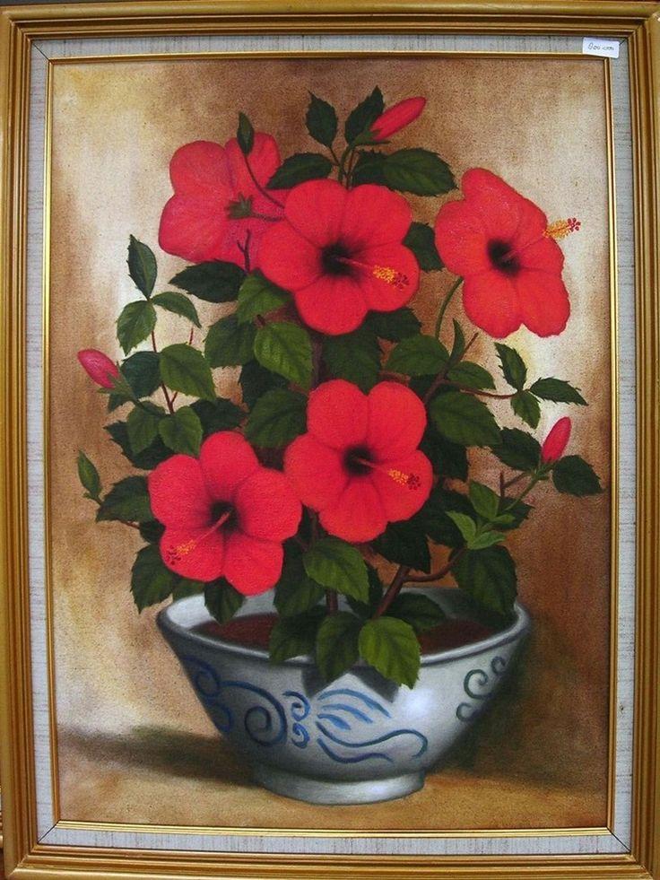 Lukisan bunga - oil on canvas - 60 x 70 cm - harga ; nego