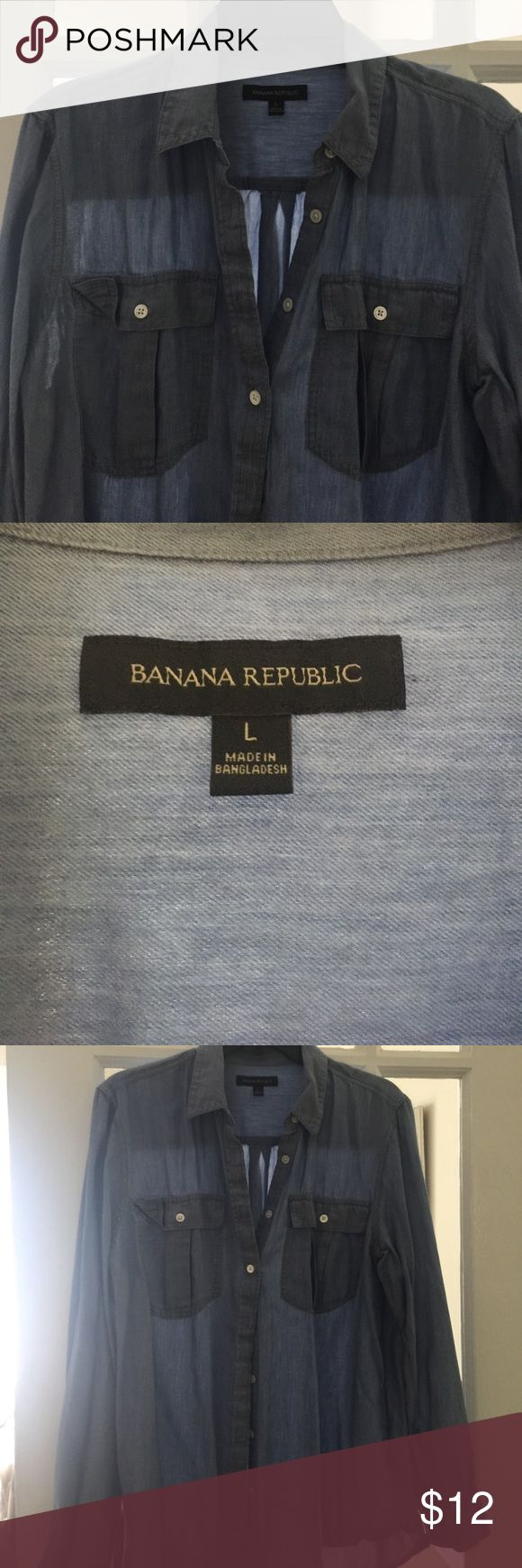 Denim shirt Banana Republic Super soft and light denim shirt from Banana Republic. It breaths so could be a summer and fall denim. Xoxox Banana Republic Tops Button Down Shirts