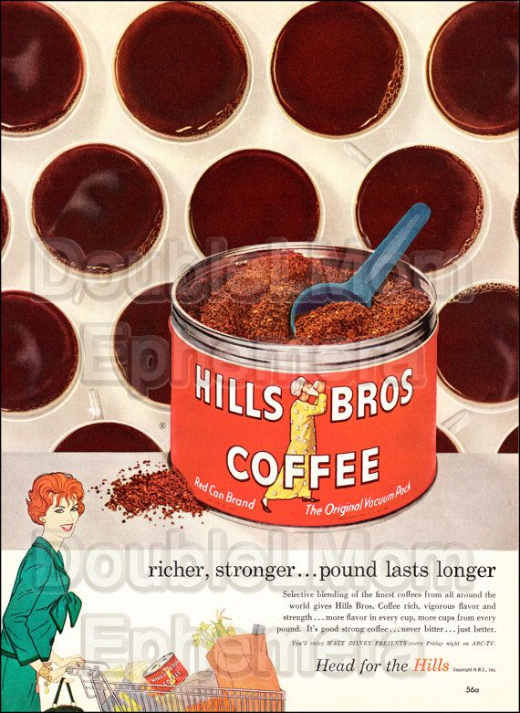 1959 Hills Brothers Coffee Vintage Print Ad // Vintage Coffee Advertisements // Cup of Coffee Ad Art // Kroger Supermarkets Vintage Ad