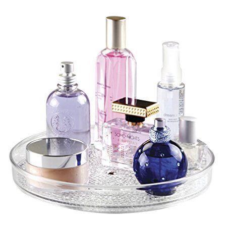 Rangement rotatif de cosmétiques, mDesign Lazy Susan, pour meuble de salle de bain, maquillage, produits de beauté - Transparent: Amazon.fr: Cuisine & Maison