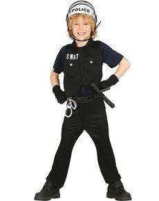 SWAT-polis Maskeraddräkt Barn