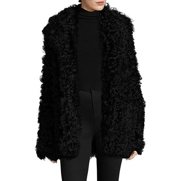 A.L.C. Stone Shearling Coat (50,945 MXN) ❤ liked on Polyvore featuring outerwear, coats, apparel & accessories, black, shearling coat, sheep fur coat, fur-lined coats, shearling lined coat and oversized coat