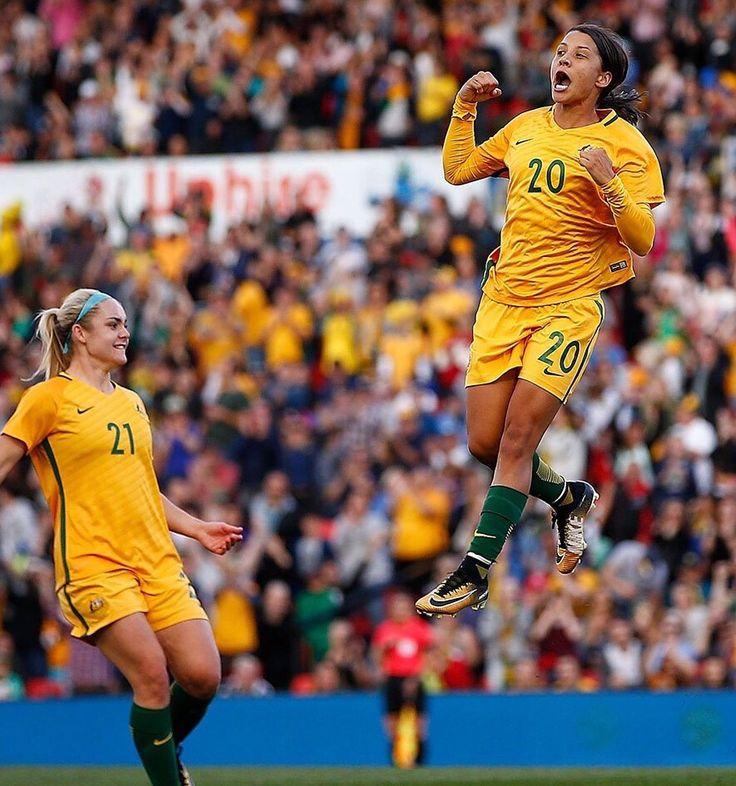 Sam Kerr scores yet again for the #Matildas v #Brazil in Penrith, 2-1, 16.09.17