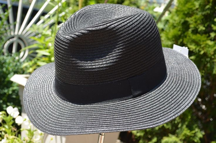 Straw Panama Hat For Women Wide Brim Fedora Beach Dress Hat Round Cap Black #HatsForWomenBlack