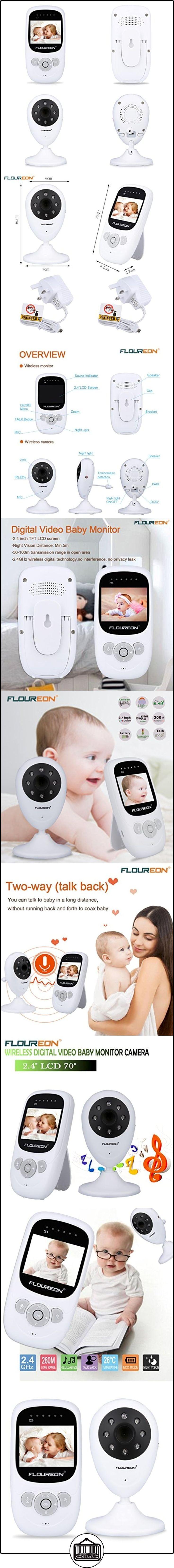 """Floureon XP603 - Vigilabebes Monitor de Bebés Seguridad (Pantalla LCD 2,4"""", Detección de Temperatura, Vision Nocturna, Canción de Cuna, Sin Radiación Lesión )  ✿ Vigilabebés - Seguridad ✿ ▬► Ver oferta: http://comprar.io/goto/B01MYTDAM2"""