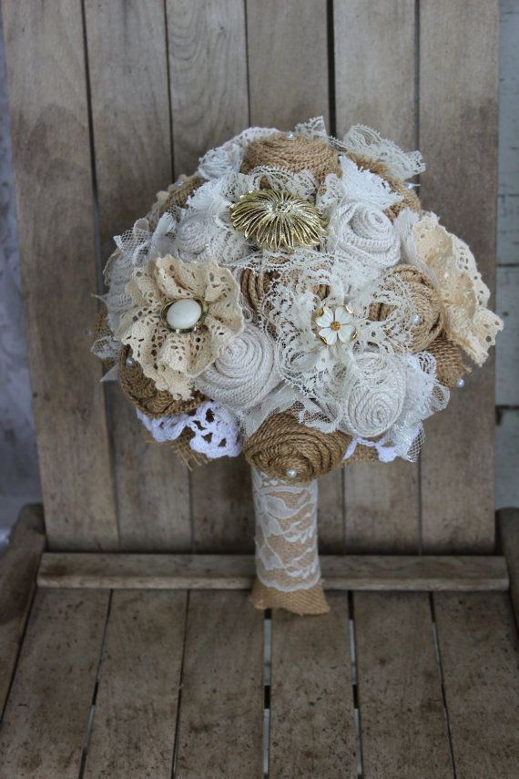 Rustic Glam Burlap Bridal Brooch Bouquet With Pearl And