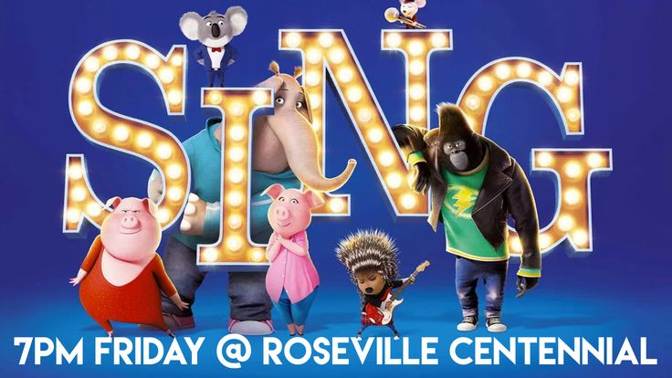 """Join us at Centennial's Roseville Campus for a showing of the movie """"Sing"""" outdoors on the lawn at 7pm this Friday! #CentennialUMC"""
