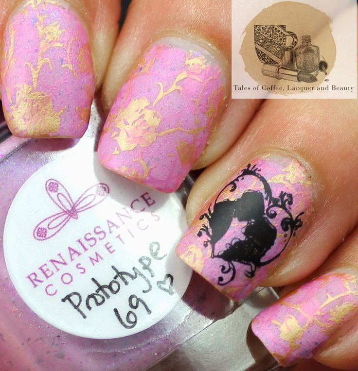 Renaissance  Cosmetics Ultra Chrome Flakies pink prototype 69 Review and Swatch stamped with MoYou London Pro stamping plate and Mentality stamping polish I Tales of Coffee, Lacquer and Beauty