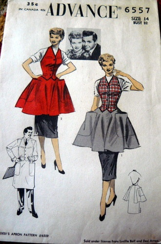 "I LOVE LUCY - LUCILLE BALL APRON - Advance 6557 Sewing Pattern - Size 14 Bust 32"" - officially licensed item from 1953 - eBay auction by oncillakat -  ended June 20 2013 - winning bid was $76.00"