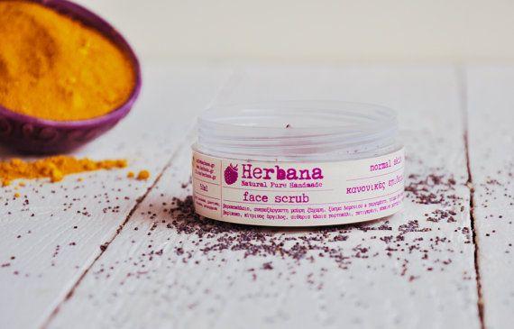 Face Scrub for Normal & Combination Skin, Organic Exfoliator, Natural Face Care, Peels, Vegan Skin Care, Moisturizer by Herbana Cosmetics