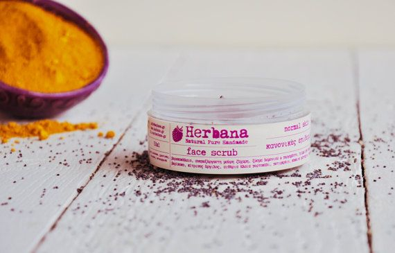 Face Scrub for Normal & Combination Skin, Organic Exfoliator, Natural Face Care, Peels, Vegan Skin Care, Moisturizer by Herbana Cosmetics