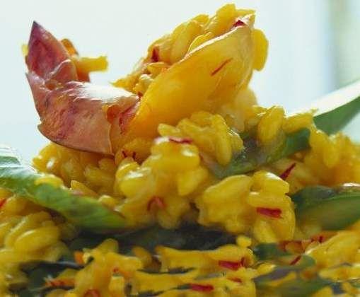 Rezept Safran-Risotto mit Scampi und Spargel von UdoSchroeder - Rezept der Kategorie sonstige Hauptgerichte