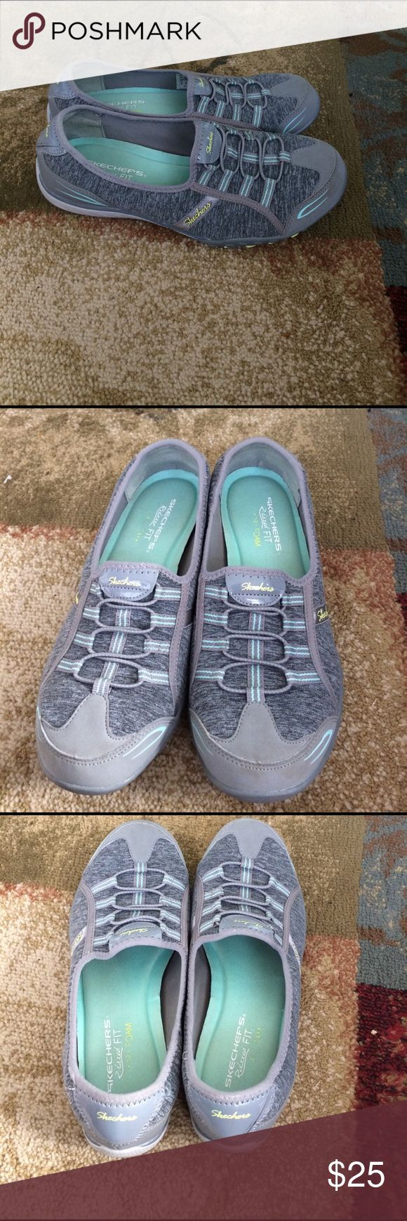 Skechers memory foam shoes size 9 Skechers memory foam shoes size 9. In good used condition. Has some wear because they are used. Gray in color. Comes from smoke free and pet free home. Skechers Shoes Flats & Loafers