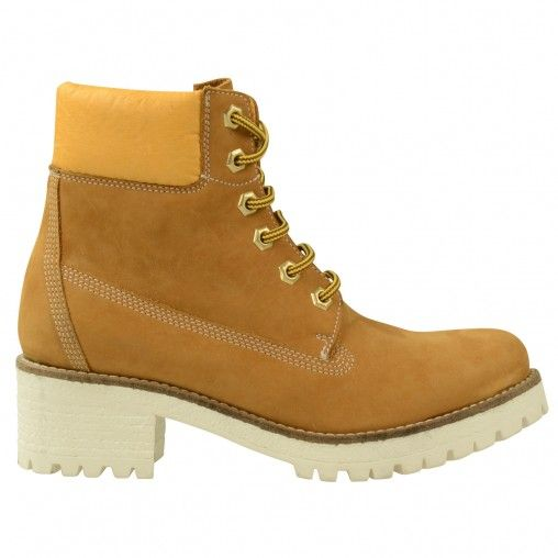 SACHA // Mountainboots white heels €99,95 #sachashoes #oker #sneaker #sole #yellow
