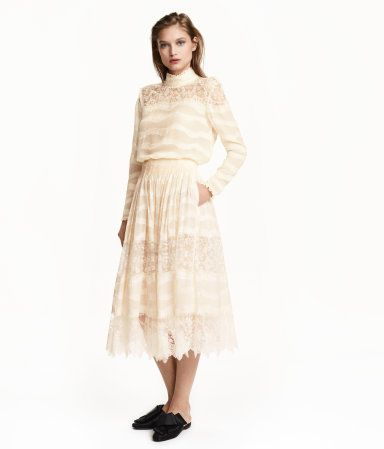 Natural white. CONSCIOUS EXCLUSIVE/PREMIUM QUALITY.  Knee-length skirt in airy jacquard-weave fabric made from organic mulberry silk and viscose, with a