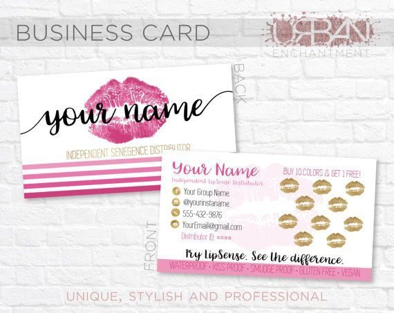Custom LipSense Business Cards  Pink Stripes  by UrbanEnchantment1