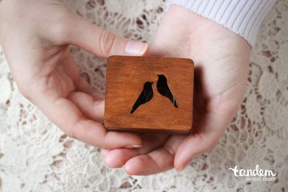 wood box for rings with birds handmade rustic by WoodTandemDecor