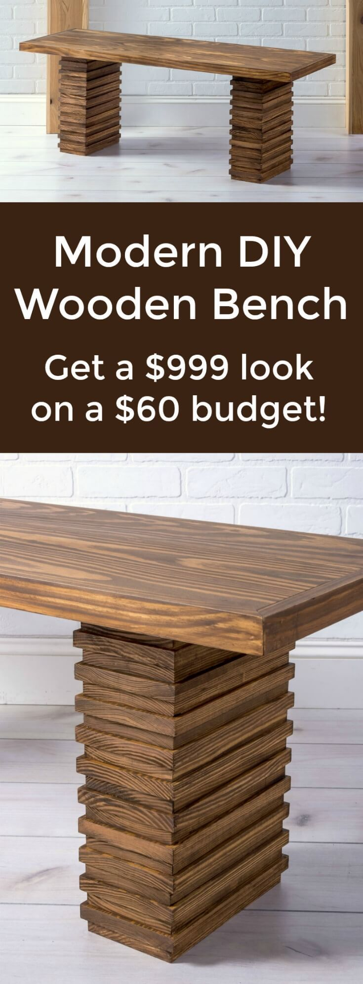 This modern wooden bench was inspired by a Crate and Barrel find for $999 - except we made our version for less than $60. Easy to follow tutorial! via @diy_candy