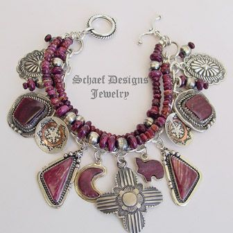 Schaef Designs purple spiny oyster shell, bench bead, Vince Platero Zia, Conchos, Cadman, Navajo Wedding Baskets & sterling silver charm bracelet | Schaef Designs Southwestern & Equine Jewelry | Online upscale southwestern equine jewelry boutique gallery | New Mexico